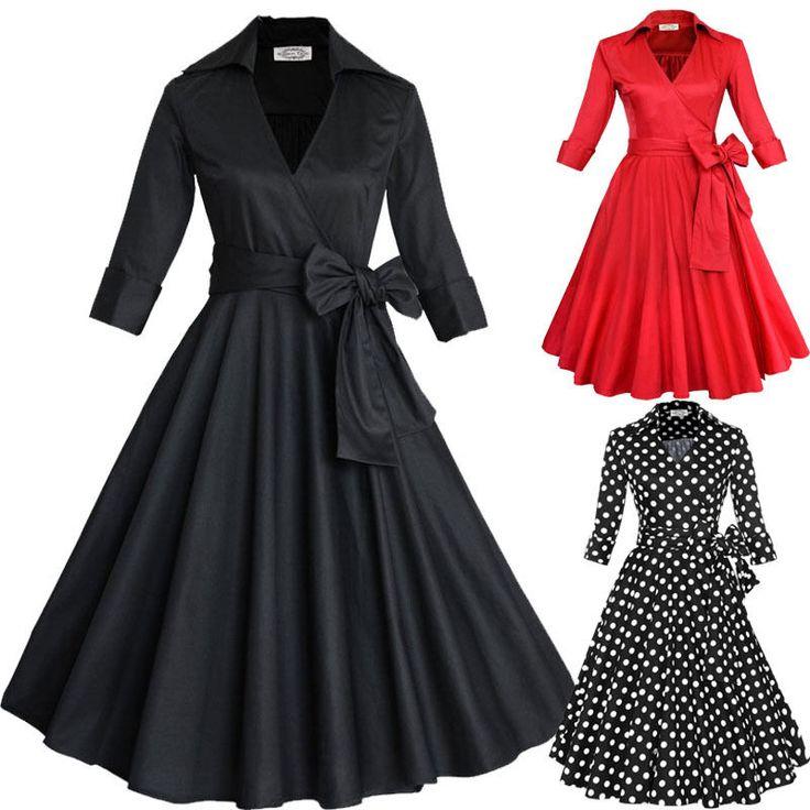 Rockabilly 50s Vintage Polka Dot 3 4 Sleeve Women Swing Housewife Pinup Dress | eBay