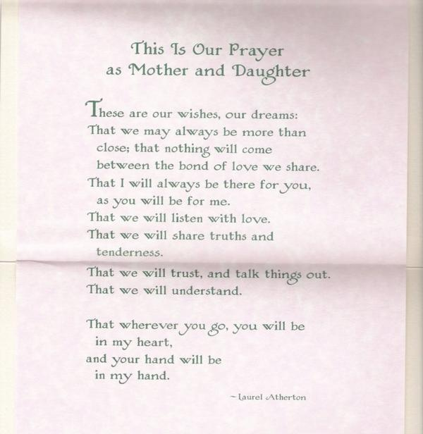 This is so BEAUTIFUL!  The perfect way to describe the bond between a mother and her daughter!