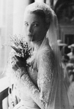 "missvioleteyes: "" Grace Kelly's wedding to Prince Rainier at the Palace Throne Room of Monaco on April 18, 1956 """
