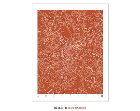 SHEFFIELD Map Art Print / UK Poster / Sheffield Wall Art Decor