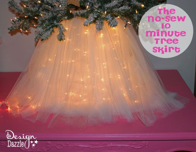 No Sew Light Up Tree Skirt! Christmas trees will never be the same. Beautiful! For total safety, seeing as there's tulle fabric involved, use LED string lights on your Xmas tree.