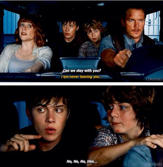 """No, no, no, him..."" - Gray, Zach, Claire and Owen #JurassicWorld"