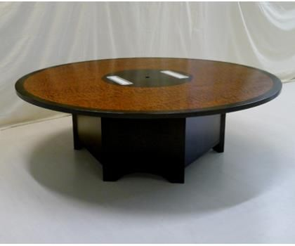 This Modern, Round Conference Table Is 8 Feet In Diameter And Is Made With  A Cherry Wood Center And Edge That Borders A Bubinga Top.