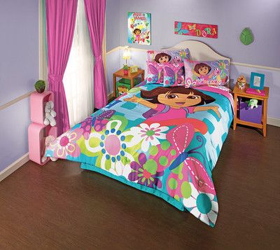 Dora comforter set full kid 39 s bedroom pinterest twin for Dora themed bedroom designs