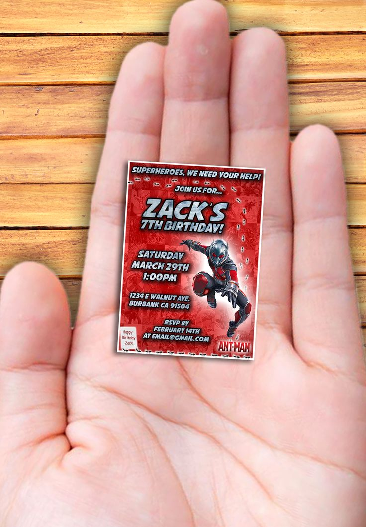Ant-Man Sized Invitation (4x6 or 5x7 size included) - Marvel Cutest thing I've ever seen!!