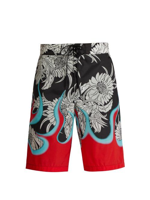 9a0fde877e1a1 PRADA PRADA - CHRYSANTHEMUM AND FLAME PRINT SWIM SHORTS - MENS - BLACK  MULTI. #prada #cloth | Prada | Prada, Swim shorts, Swim trunks