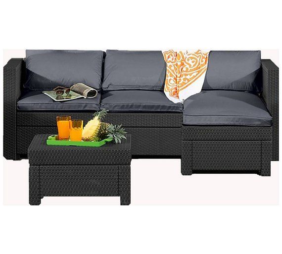 Buy Keter Oxford Rattan Effect Outdoor Corner Sofa Graphite At Argos Co Uk Visit Argos Co Uk To Shop Onl Corner Sofa Set Corner Sofa Garden Table And Chairs