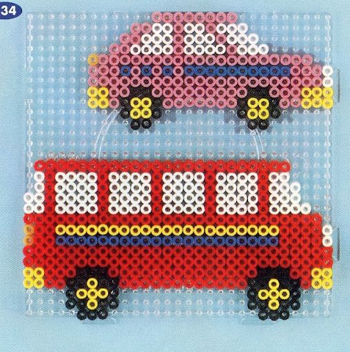 Perler Bead Car and Bus