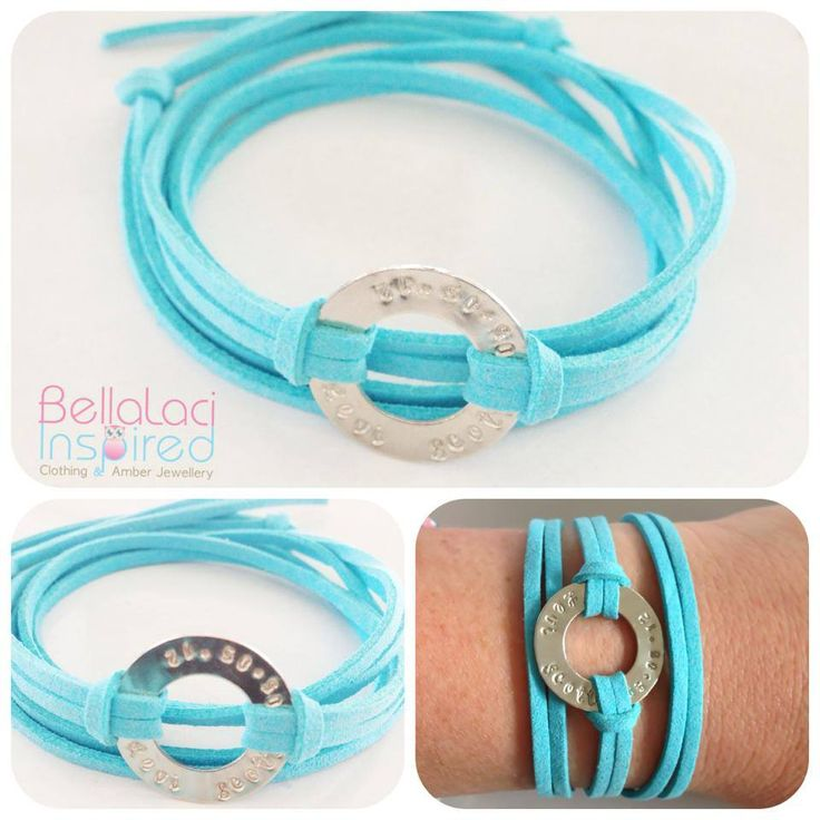 Turquoise Faux Suede & Sterling Silver Handstamped Love Circle Bracelet with tie closure.