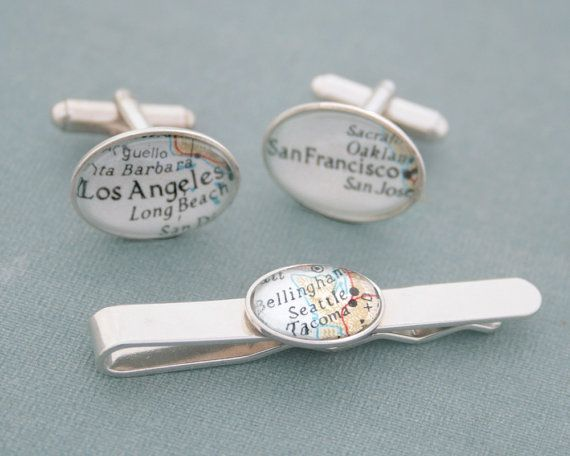 Affiliate - Sterling Silver Custom Tie Bar and Cufflinks Map Personalized