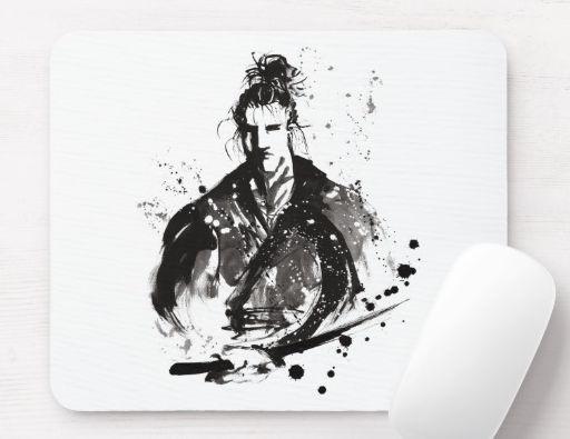 Mouse Pad , Samurai style , Japanese Style .
