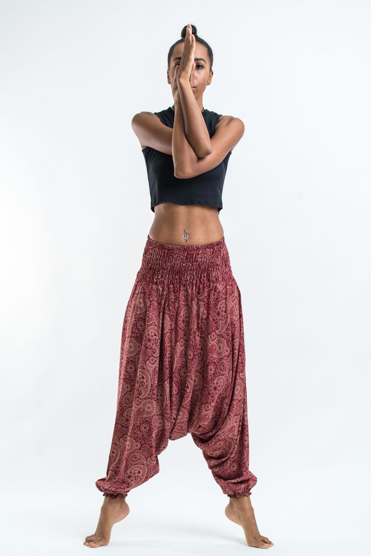 Royal Paisley Jumpsuit Harem Pants in Masala Red