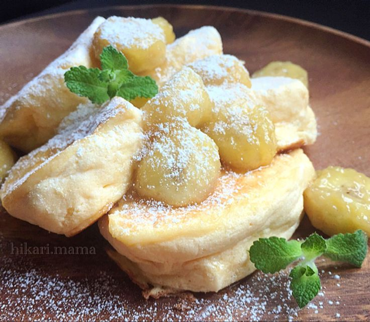 ひかりママ's dish photo キャラメルバナナ ヨーグルトスフレパンケーキ   http://snapdish.co #SnapDish #レシピ #おやつ #ドーナツ/クレープ/パンケーキ #フルーツ