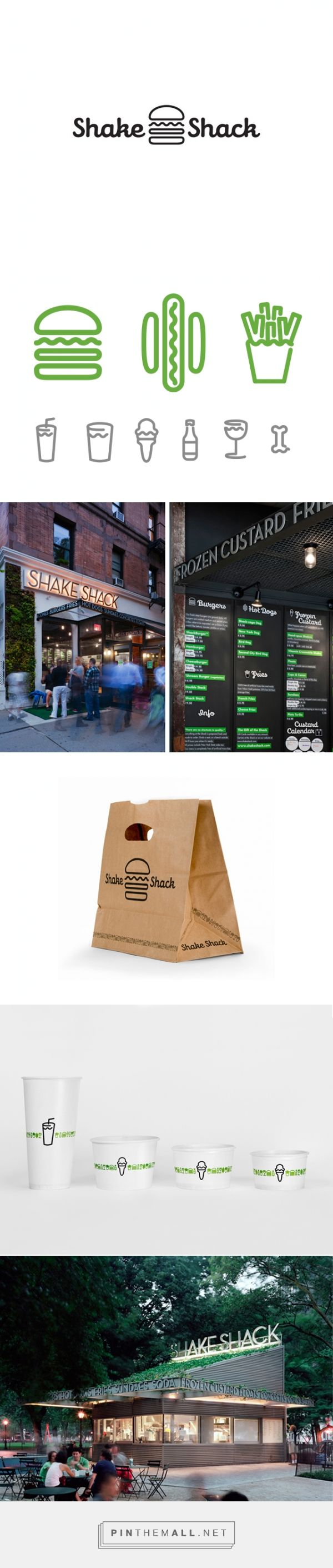 Shake Shack Brand identity and #packaging from the portfolio of Lenny Naar curated by Packaging Diva PD. Looks like lunchtime to me created via http://lennynaar.com/portfolio/shake-shack-brand-identity/