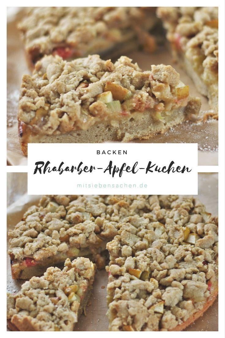 Rezept für einen leckeren und einfachen Rhabarber-Apfel-Kuchen mit Streuseln.
