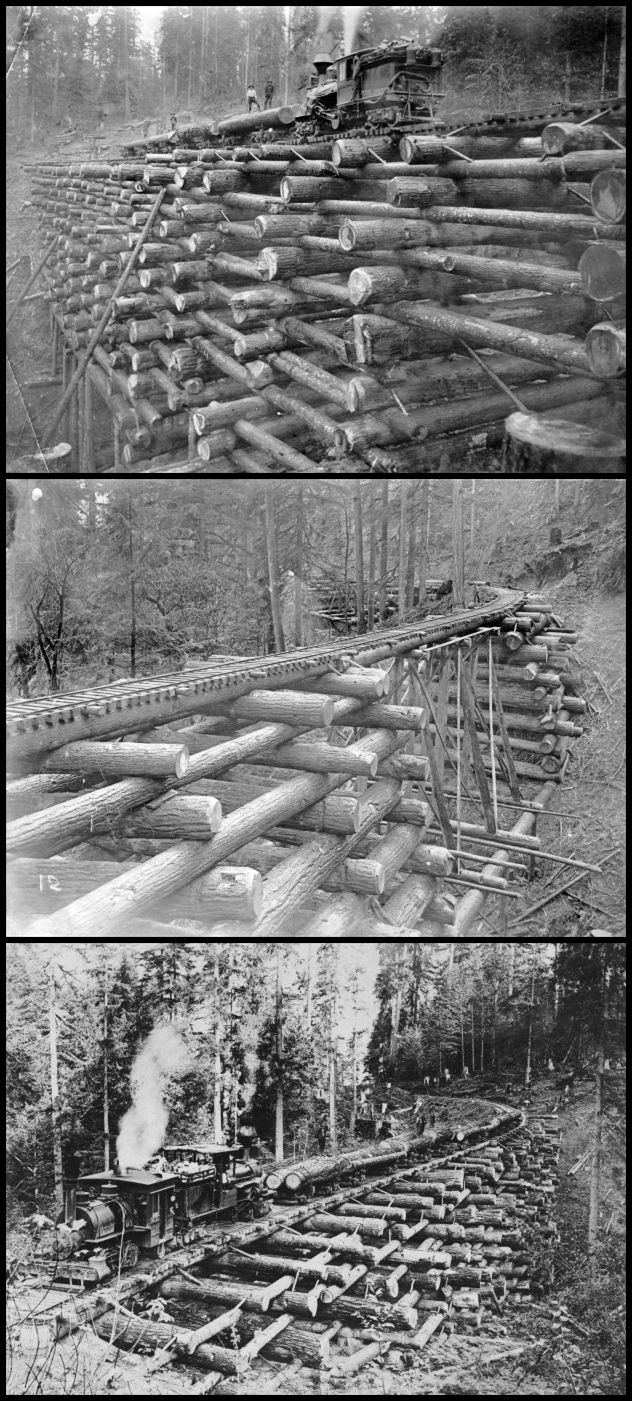 1900 - 1908: Log Railway Bridges. Is it just me or does this NOT look stable? Doubt I would ride over it.