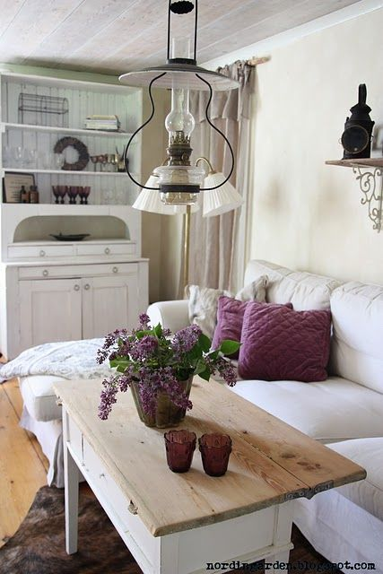 White sofa, with purple accent