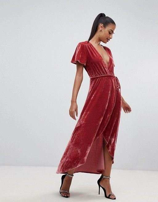 af2eec089be7 PrettyLittleThing velvet wrap midi dress in pink in 2019