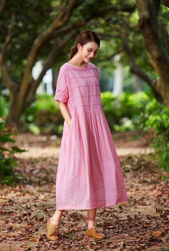 2016 maxi linen dress, linen shift dress in pink, plaid dress, oversized linen…