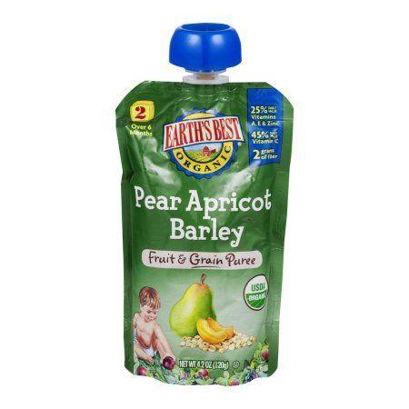 Earth's Best Organic Fruit & Grain Puree Pear Apricot Barley, 4.2 OZ, Multicolor
