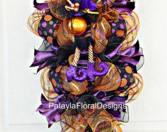 Botín de malla, guirnalda de Halloween, bruja sombrero guirnalda, guirnalda con araña Verticle Swag, decoración de Halloween, guirnalda de la puerta, guirnalda colorida de la bruja