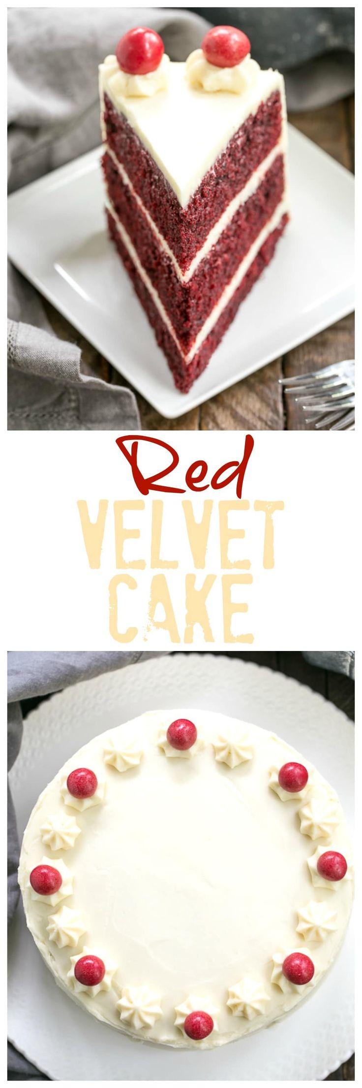 Red Velvet Cake with White Chocolate Cream Cheese Frosting | Triple layered decadence @lizzydo
