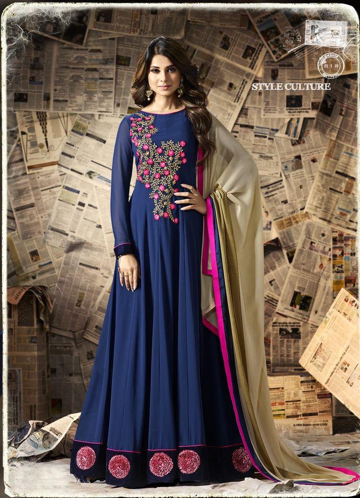 Jennifer winget Blue embroidered georgette floor length anarkali dress