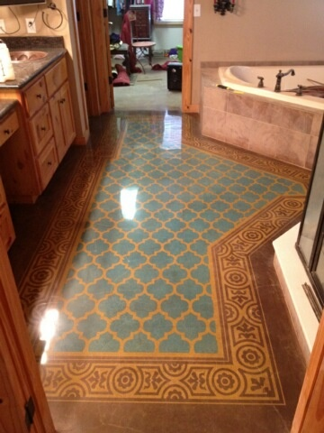 Concrete Polishing can be used to replicate many flooring styles found throughout the world, like this middle eastern inspired bathroom dyed to resemble the complicated and intricate patterns made famous by grand mosques.  Decorative concrete to the rescue. www.xtremepolishingsystems.com