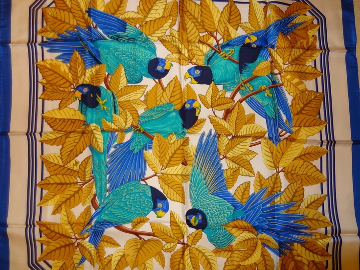 HERMES ' Les Perroquets' Scarf | eBay