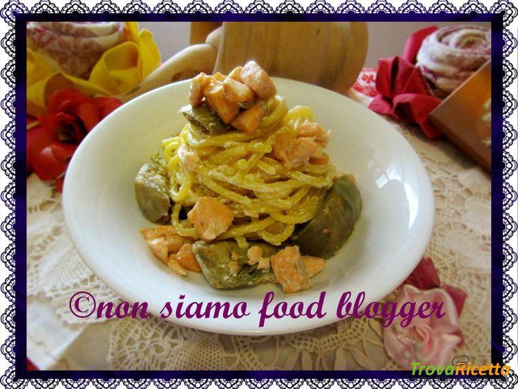 Pasta al salmone con carciofi e caprino  #ricette #food #recipes