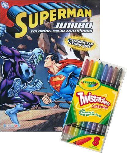 "DC Comics SUPERMAN Coloring Book Set with Crayola Twistable Crayons by DC Comics. $8.90. Includes package of full sized Crayola Twistable Crayons.. Games, puzzles, mazes and coloring fun with DC Comics SUPERMAN characters.. Great gift for your favorite SUPERMAN enthusiast! This coloring and activity set will provide many hours of fun!. Delight your SUPERMAN fan with this SUPERMAN Coloring Book Set with Crayola Twistable Crayons.. Book measures approximately 8""..."