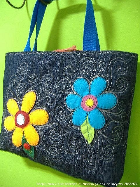 Lovely denim bag with flower applique
