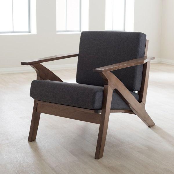 baxton studio cymone mid century modern walnut wood grey fabric livingroom 1 seater lounge chair by baxton studio baxton studio lounge chair