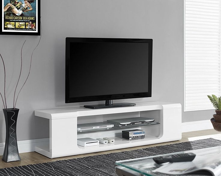 Amazon.com: Monarch Specialties High Glossy White TV Console with Tempered Glass, 60-Inch: Home & Kitchen