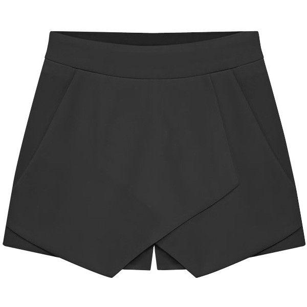 SheIn(sheinside) Black Slim Casual Skirt Shorts ($16) ❤ liked on Polyvore featuring shorts, skirts, sheinside, bottoms, pants, black, loose fit shorts, slim fit shorts, loose shorts and slim shorts