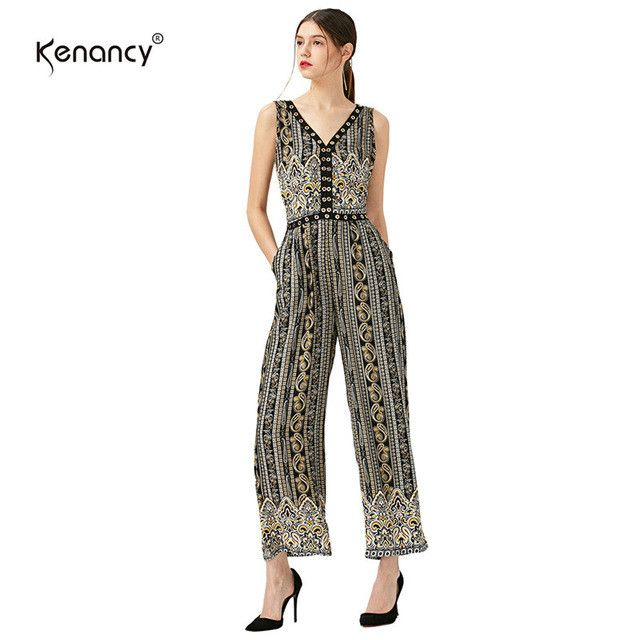Kenancy New Fashion Stripe Jumpsuit Women Summer Casual Loose V-neck Backless Elastic Waist Elegant Beach Jumpsuit