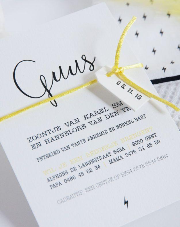 Geboortekaart zwart/wit met gele accenten (c)Alsjeblief.be