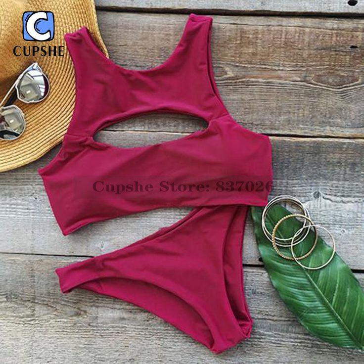 Cupshe Hot As Hell Cutout Tank Bikini Set Women Summer Sexy Swimsuit Ladies Beach Bathing Suit swimwear
