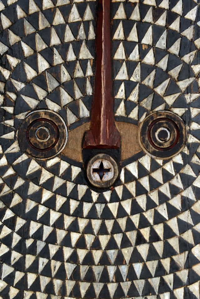 Details from a stunning Moon mask from the Ivory coast | Wood and paint | ca. 1960: