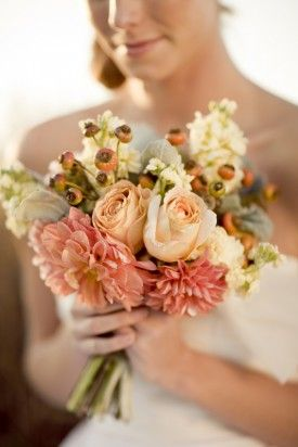pink peach bridal bouquet 275x412 Whimsical Farm Wedding Inspiration Shoot