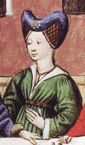 These is the inspiration for the headdress and Houppeland – all three are from an illustrated 15th century French translation of Boccaccio's Decameron.  The illustration are from:  Pognon, Edmond (translated by Tallon, J. Peter).  Boccaccio's Decameron. Fribourg – Geneve: Liber SA, 1978.: