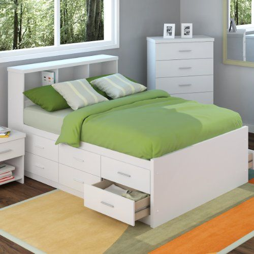 Bedroom White Wooden Double Bed With Storage Besides Mattress Green Blanket Pillows