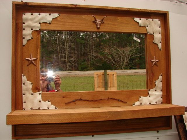 Cowhide Western  Mirror with Shelf