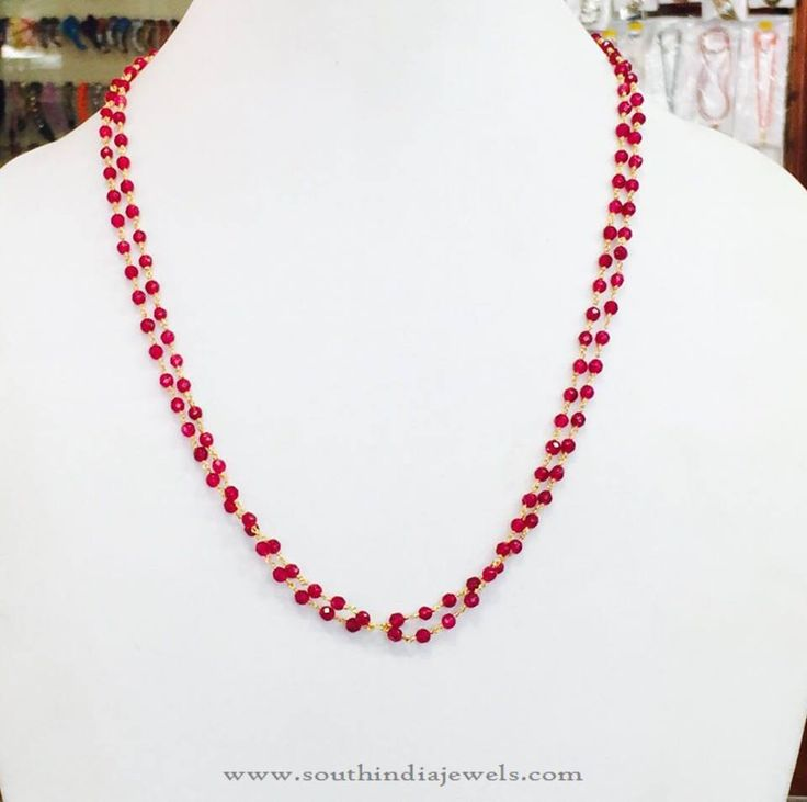 Beaded Jewellery, Beaded Chain Necklace Designs, Red Beaded Chains Designs.
