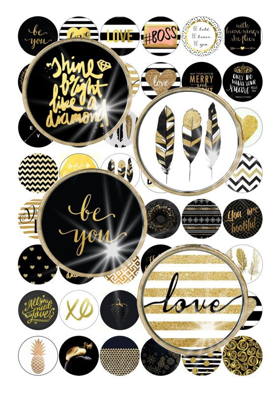 Digital Collage Black Gold Quotes Christmas  by ThePrintablesWorld