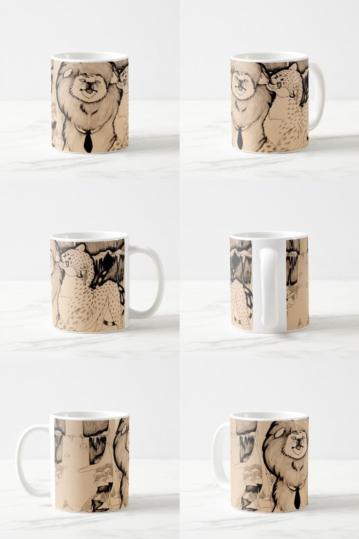 """""""Young Girl"""" Black and White Illustrated Feline Coffee Mug #cheetah #lion #illustration #products"""