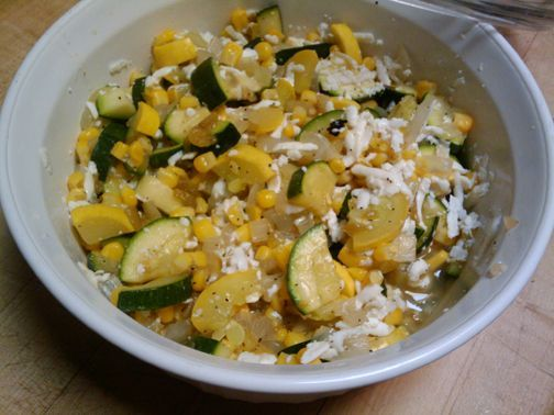 Technically, calabacita is Spanish for squash, but here in New Mexico we use the word generally to mean this traditional dish made from squash.Calabacitas recipes are like green chili stew recipes out here in NM – everybody has one and it is the best. A personalized mash up of a combo of very few or many ingredients: Zucchini and/or Squash, corn or roasted corn, onions or scallions, garlic, green chiles, tomatoes, cooking oil or butter, oregano, salt & pepper or garlic salt, cheese.
