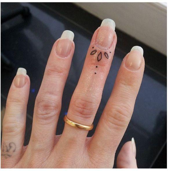 Tiny finger tattoo. I've heard finger tattoos near your cuticle hurt sooooo much.