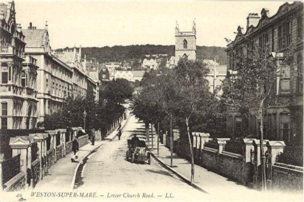 Lower Church Road, Weston-super-Mare, Old Postcard
