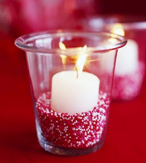 Dress up your table by adding sprinkles to a candle holder. #BrightPink